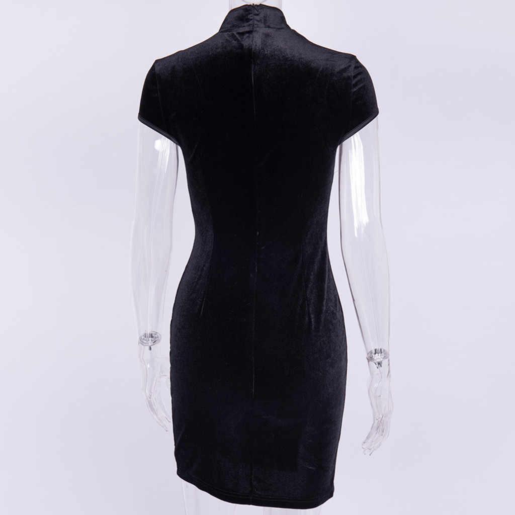 Платье женское готическое панк китайское Cheongsam Harajuku облегающее платье Летнее бархатное платье винтажные платья с разрезом Vestidos #1