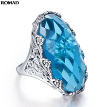 Higt Quality Blue Crystal Woman Ring Engagement Wedding Jewelry Anniversary Gift Rings For Women Size 6 7 8 9 10 A40