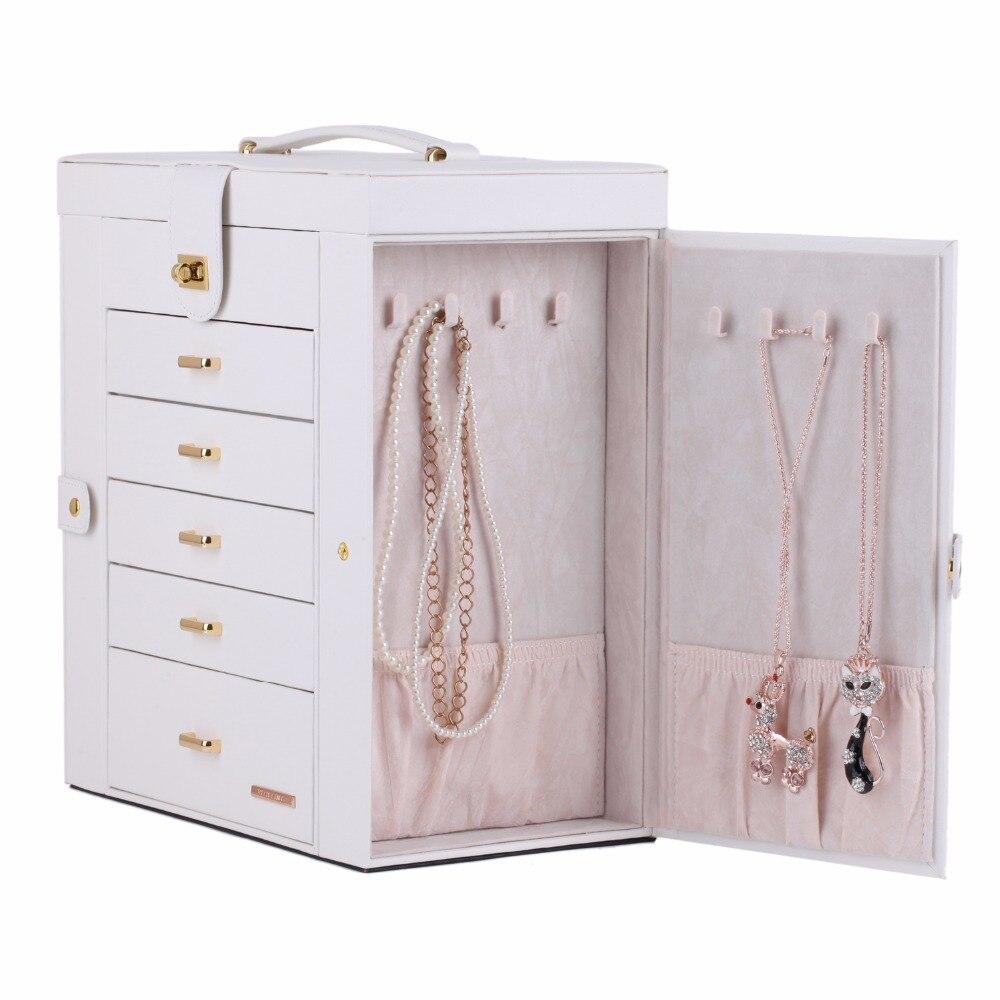 White Large Fashion Luxury Jewelry Box 6 Layers Mirrored Handle