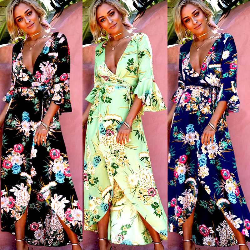 f884ae24e7 Ladies Womens Sundress Long Sleeve Women Summer Boho Maxi Dress Evening  Party Beach Dresses Sundress Print Flower