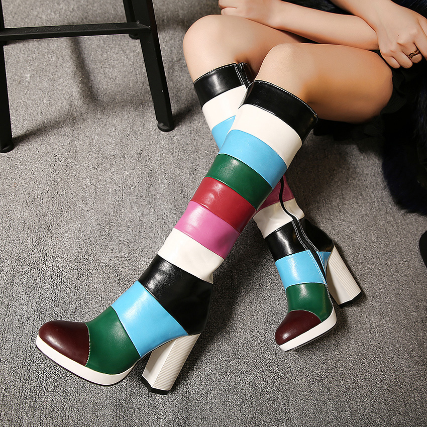 ФОТО Thick High Heels Women Spring Autumn Knight Boots Colorful Lady Knee High Long Boots 2016 New Arrival Fashion High Boots