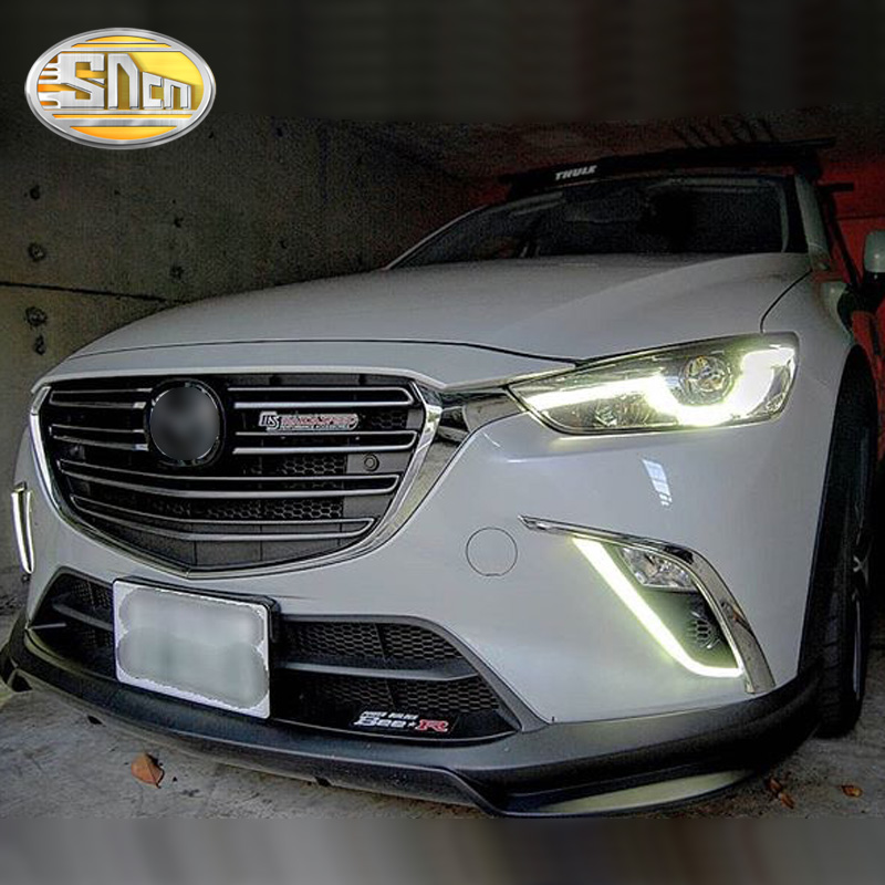 SNCN LED Daytime Running Light For Mazda CX-3 CX3 2015 2016 2017 2018 Car Accessories Waterproof ABS 12V DRL Fog Lamp Decoration цена