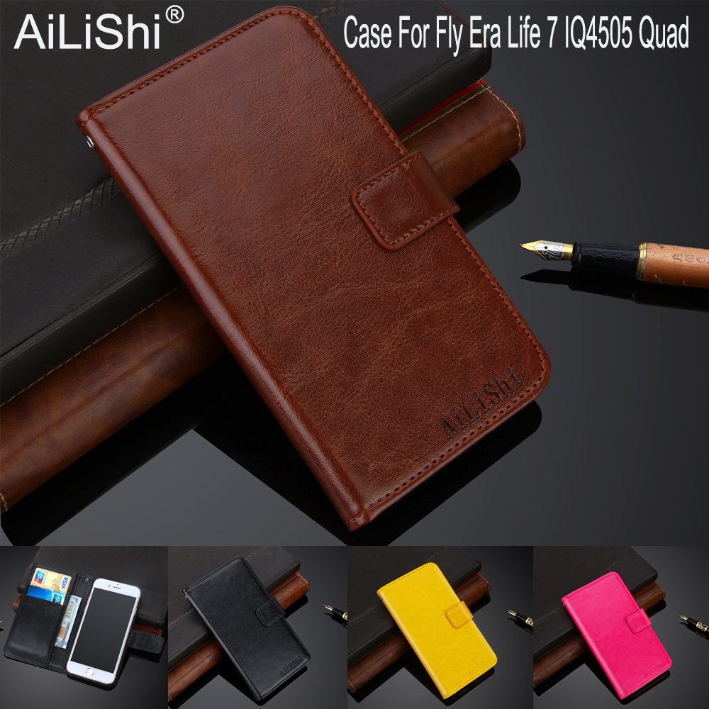 AiLiShi 100% Exclusive Case For Fly Era Life 7 IQ4505 Leather Case Flip Top Quality Cover Phone Bag Wallet Holder + Tracking