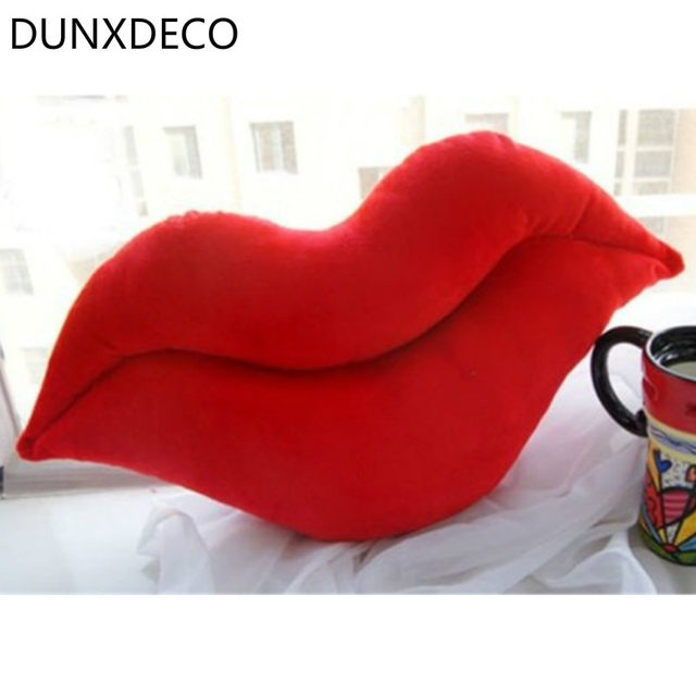 DUNXDECO Pillow Fat Red Lips Plush Cushion Cute Sofa Room Bed Decorative  Pillow Home Decoration