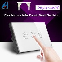 NEW Arrival HUANGXING 500W AU US Standard Screen Touch Electric Curtain Switch Tempered Crystal Glass Panel