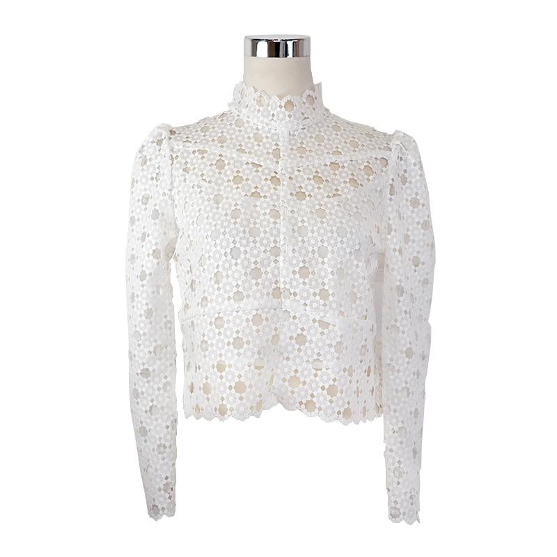 Nouveau créateur de mode Blouses de piste 2018 printemps femmes à manches longues col montant Vintage couverture en dentelle fille chemises avec doublure