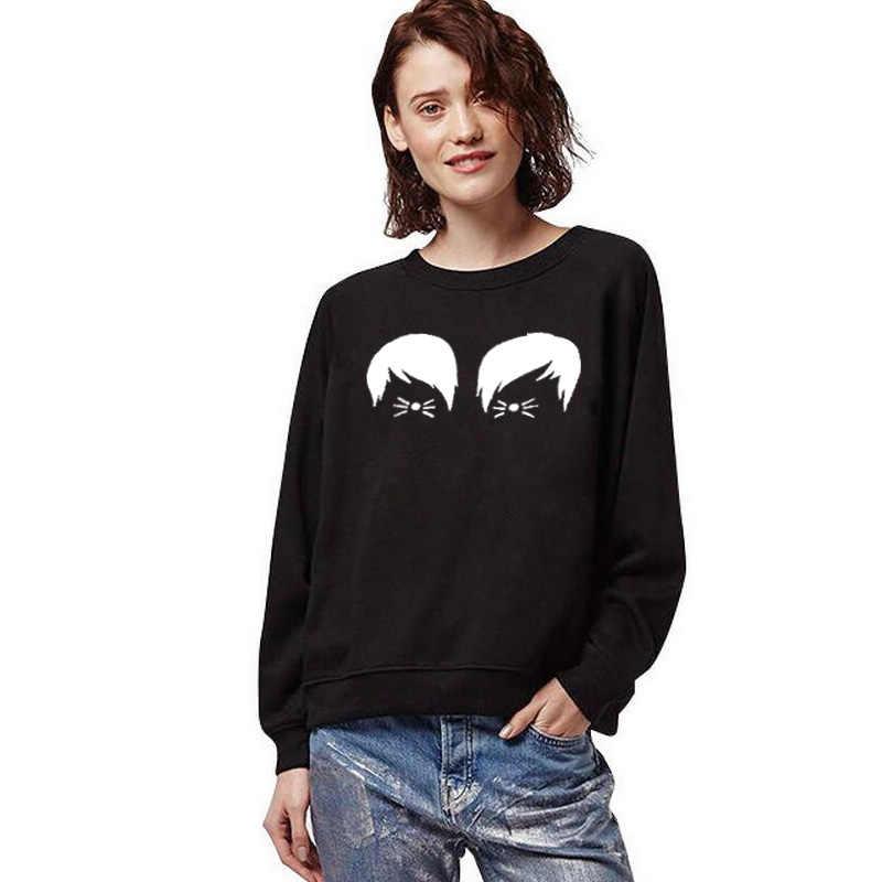 مضحك بلوزة يمكن الطباعة عليها جديد عادية قميص برقبة مستديرة للنساء هوديس Moletom Feminino دان و فيل القط ويسكي الكرتون الملابس