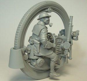 Image 3 - طقم غير مطلي 1/35 رجل مع أحادية عجلة موتو INLCUDE 7 رؤساء الشكل مجموعة الراتنج التاريخية نموذج مصغر