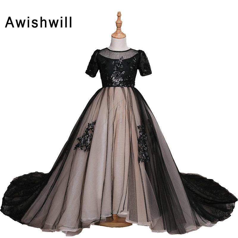Real Photos First Communion Dresses For Girls Short Sleeve Open Back Lace Pageant Dress for Girl Ball Gown Dresses for Party