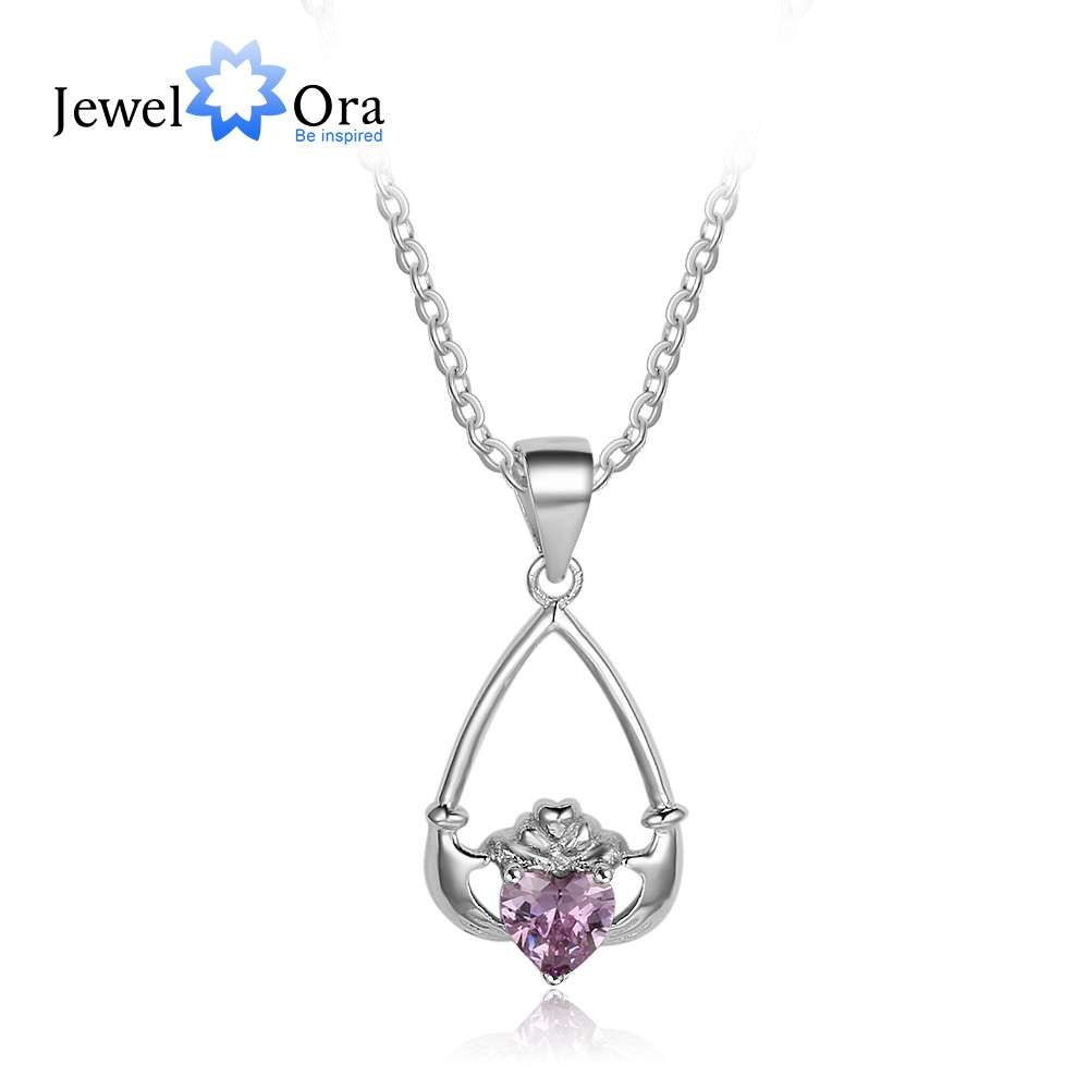 Hand Holding Heart Personalized 12 Birthstone Pendant Necklace 925 Sterling Silver Jewelry Gifts For Her (JewelOra NE101918)