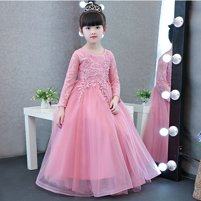 New Luxury Elegant Children Girls Birthday Wedding Party Lace Mesh Dress Kids Babies Long Sleeves Spring Ball Gown Pageant Dress pink lace up design cold shoulder long sleeves hoodie dress