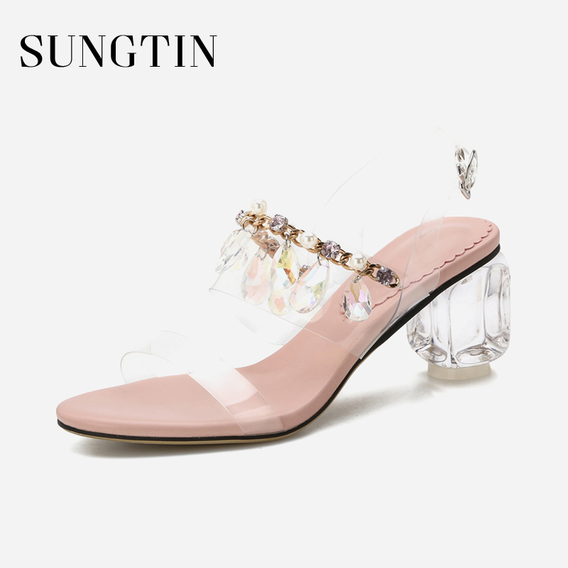 Sungtin Sexy Chic Transparent High Heels Women Rhinestone Block Heel  Sandals Ladies Handmade Party Wedding Shoes 2018 Summer-in Middle Heels  from Shoes on ... 1844082bf355