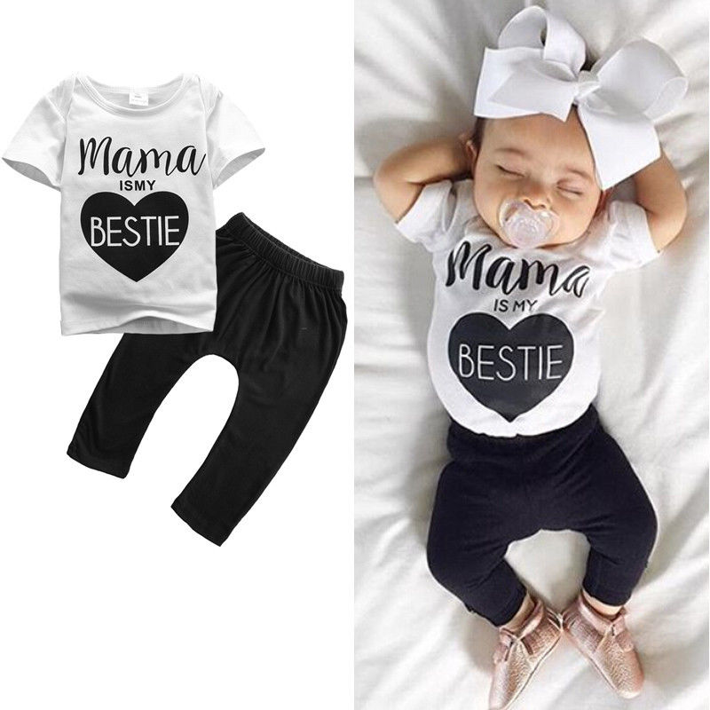 summer letter love Mamas toddler short sleeve  Infant Newborn Baby Boys Girls Clothes T-shirt Pants Outfits 2PCS Set 0-24M 2pcs newborn baby boys clothes set gold letter mamas boy outfit t shirt pants kids autumn long sleeve tops baby boy clothes set