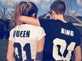 Yemuseed material grosso t casal mulheres homens harajuku tees tops letras wmt308 tumblr pode ser revisto da rainha do rei