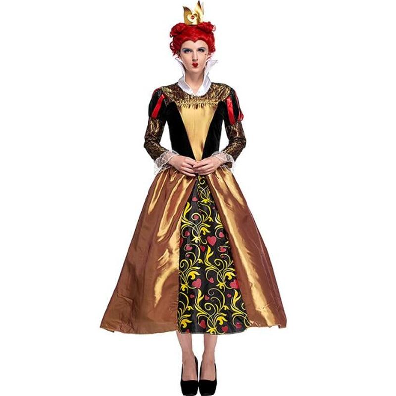 Genuine Deluxe Women Flirty Queen Of Hearts Costume Movie Alice In Wonderland Halloween Adult Cosplay Clothing