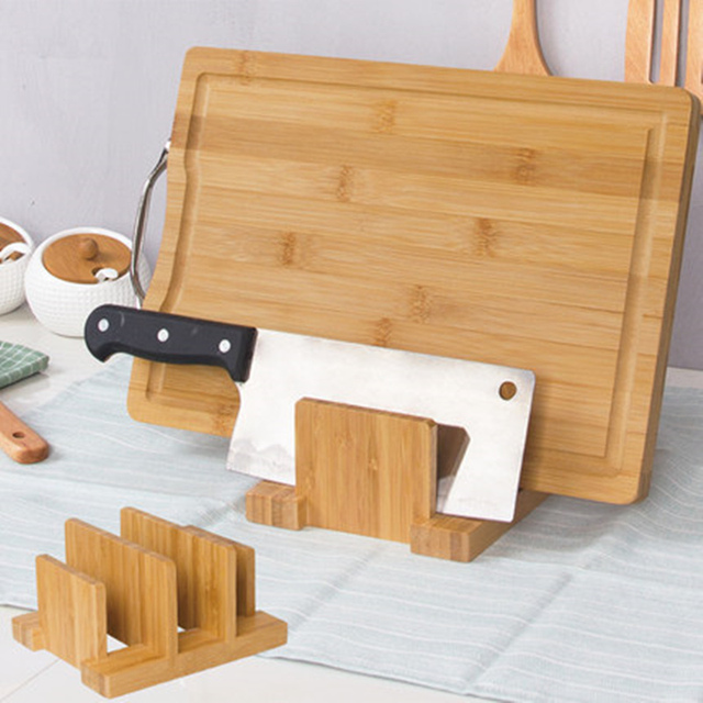 Bamboo Cutting Board Storage Rack Pot Lids Holder Pot Clip Spoon Rest Shelf  Kitchen Lid Frame