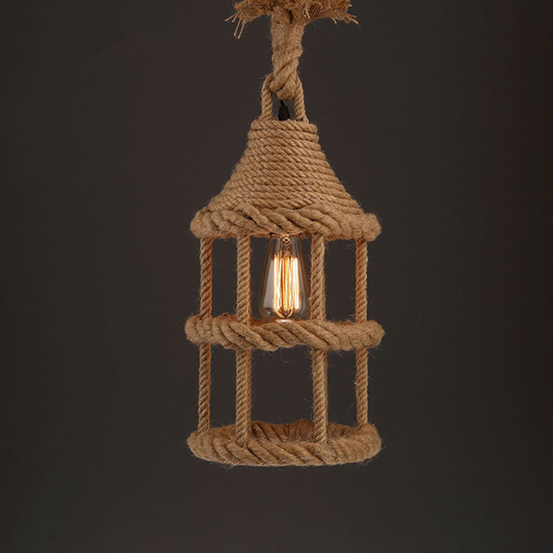 Retro Pendent Lamp Individuality Hemp Rope Pendent Lamp American Country Style Bedroom Loft Hemp Rope Pendent Lamp