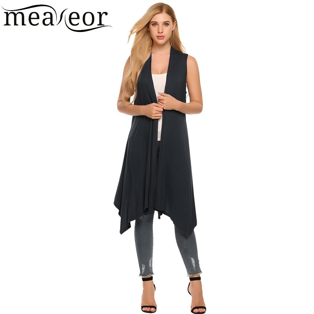 Meaneor 2018 Camiseta Women Sleeveless Asymetric Hem Open Front Solid Cardigan Coat Manteau Capa Casaco Spring summer Autumn