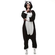 Забавный флис кигуруми Черный кот костюм мультфильм одна деталь Onesie  пижамы Хэллоуин домашний комбинезон большой размеры для в. f09dffdda0bdf