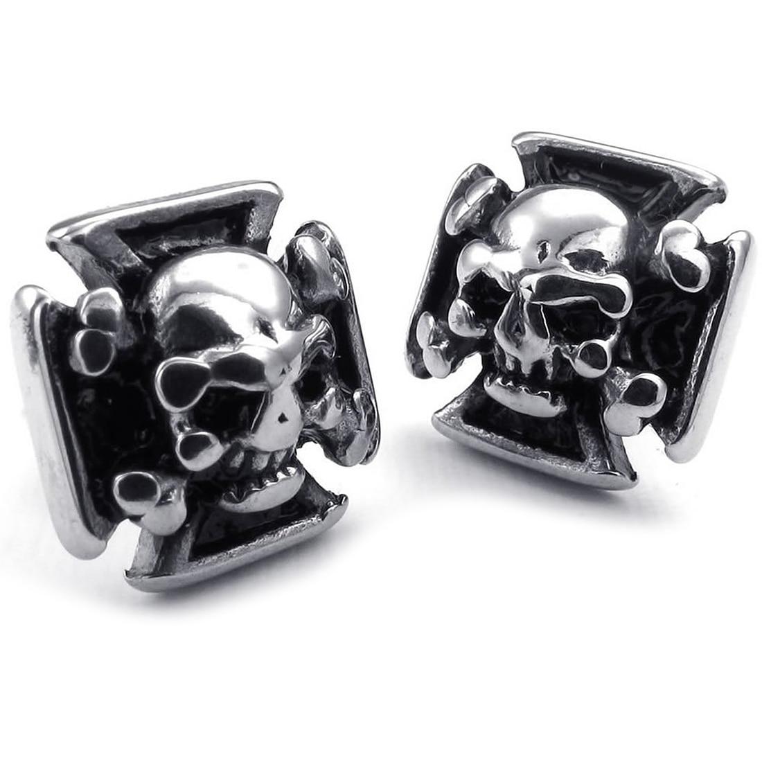 Jewelry Earrings for Men - Gothic Cross Skull Ear Studs - Stainless Steel - for Men - Black Silver - With Gift Bag