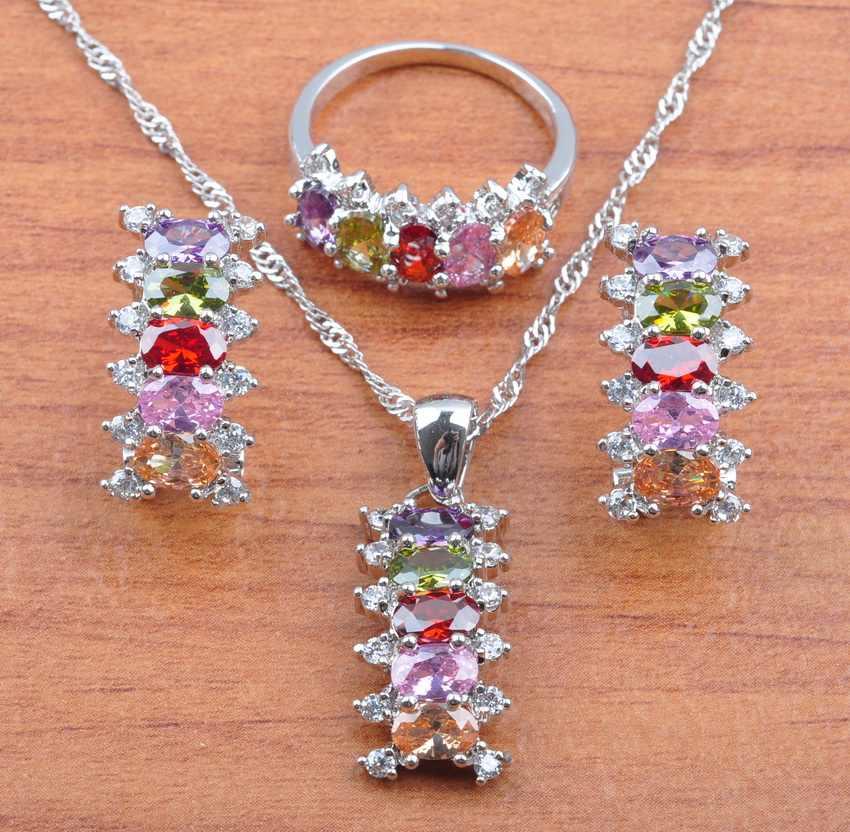 Österreich Natürliche Kristall 925 Sterling Silber Sets Luxuriöse Braut Schmuck Für Frauen Halskette Anhänger Clip Ohrringe Ring JS0560