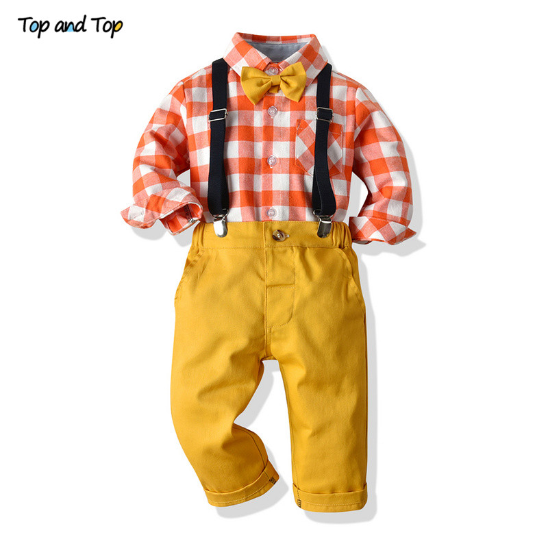 Top And Top Children Boys Gentleman Clothing Sets Casual Boys Plaid Shirts + Straps Trousers Kids Boys Overalls Clothes Outfit