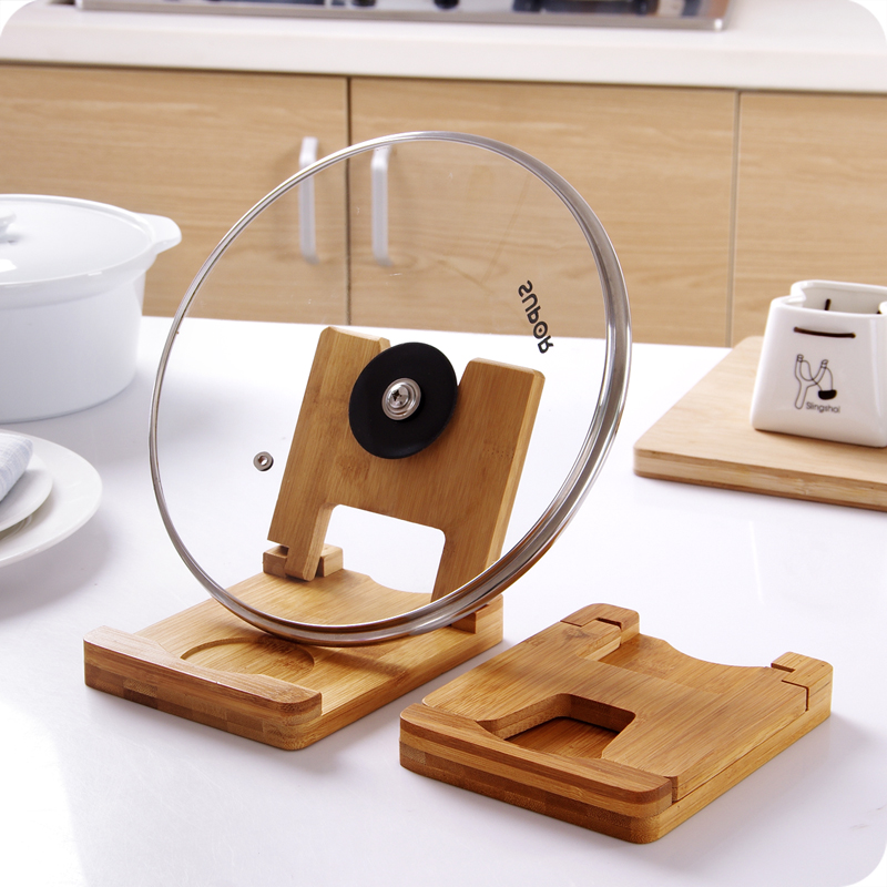 Foldable wooden pot lids holder cutting board storage rack ...