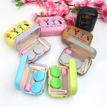 ФОТО korea style hard glasses case with mirror companion leather contact lens case box