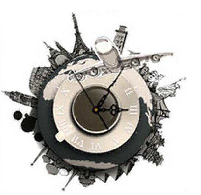 Diy 3d Voyage Autour Du Monde Horloge Murale Autocollants