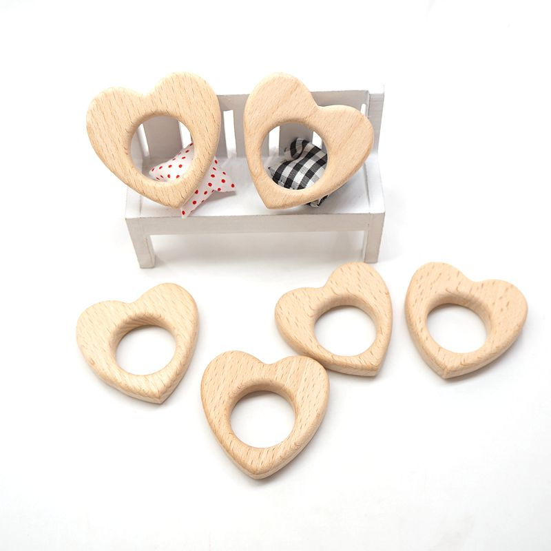 Chenkai 10pcs Heart Wooden Teether Nature Baby Rattle Teething Grasping Toy DIY Organic Eco-friendly Wood Teething Accessories