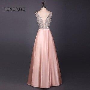 A Line Evening Dress Beading V Neck Sleeveless Long Evening Dresses 2020 Floor Length Satin vestido de festa Formal Party Gowns(China)