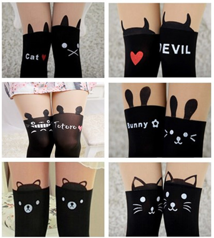 Winter women sexy tights panty knitting in stockings trousers panty-Totem fa-Thin silk printed cat tt013-1pcs