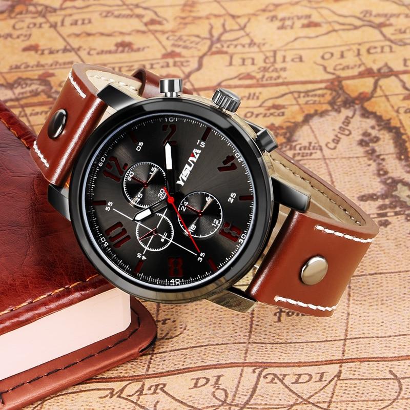 Heren Horloges Luxe Merk Lederen Mannelijke Klok YISUYA Militaire - Herenhorloges - Foto 4