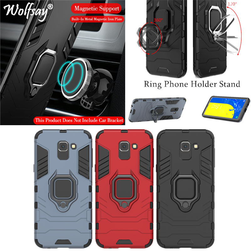 Phone Holder Ring For Samsung Galaxy J6 2018 Case Magnet Armor Cover on the For Samsung J6 Case For Samsung J6 2018 J600F/DS