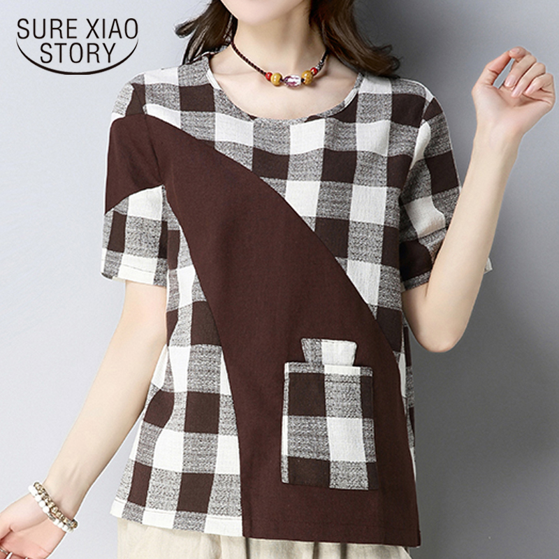 94419efa40a Detail Feedback Questions about 2018 plus size cotton linen women s tops  fashion plaid patchwork women blouse shirt short sleeve women clothing  blusas D830 ...