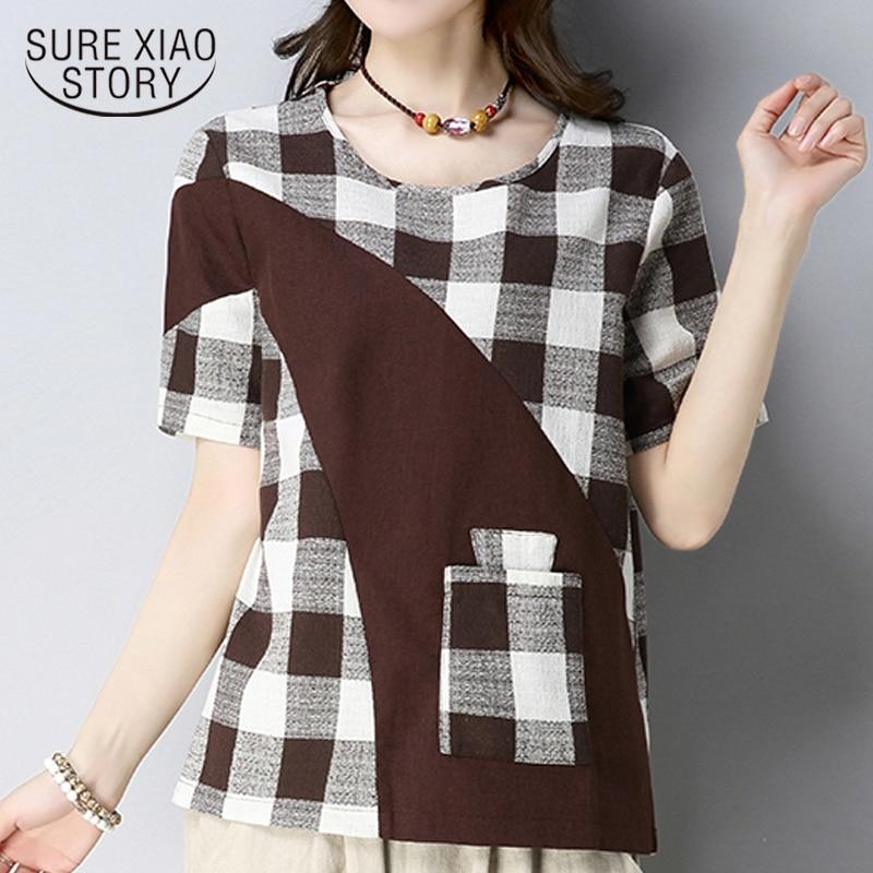 2018 plus size cotton linen women's tops fashion plaid patchwork women   blouse     shirt   short sleeve women clothing blusas D830 30