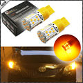 (2) No Resistor, No Hyper Flash 21W High Power Amber 7440 W21W T20 LED Bulbs For Car Front or Rear Turn Signal Lights