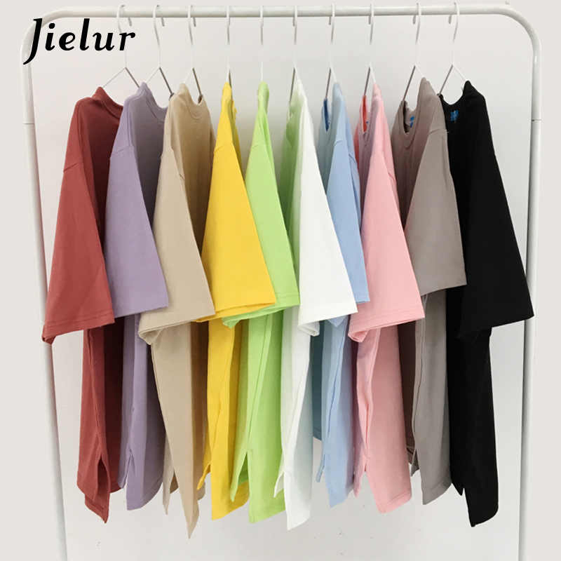 Jielur 10 Colors Candy Solid Color Korean T Shirt for Women Slim Harajuku Tees Top Female Loose White Tshirts Summer Dropshiping