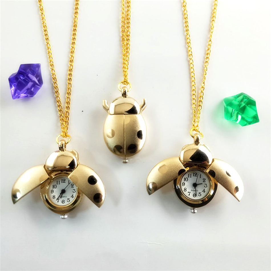 Kids Pocket Watches Golden Silver Chain Small Ladybug Pocket Watch For Children Boys Girls Best Gift Cartoon Jewelry Fob Watches