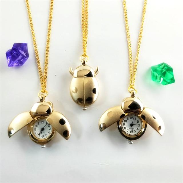 Kids Pocket Watches Golden Silver Chain Small Ladybug Pocket Watch for Children