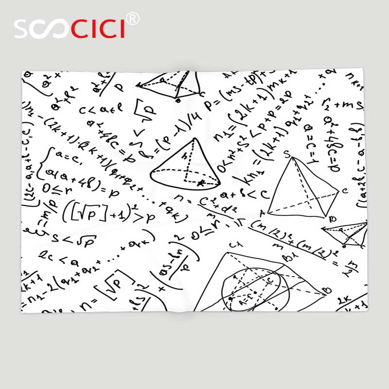 Custom Soft Fleece Throw Blanket Geometric Decor Mix Math Numbers ...