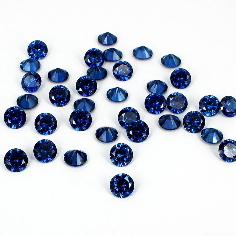 Sapphire Color 4-18mm Brilliant Cubic Zirconia Stone Round Shape Pointback Beads 3D Nail Art Decoration Supplies For Jewelry DIY geometric pattern open front cardigan
