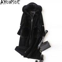 AYUNSUE овечья шерсть женская куртка 2018 зимнее пальто с мехом женское натуральное шерстяное пальто длинные куртки натуральный Лисий Мех капюш