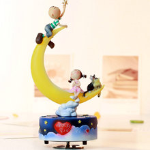 Rotating music box boy and girl in moon gifts girlfriend gifts for wedding and Christmas in home decoration free shipping