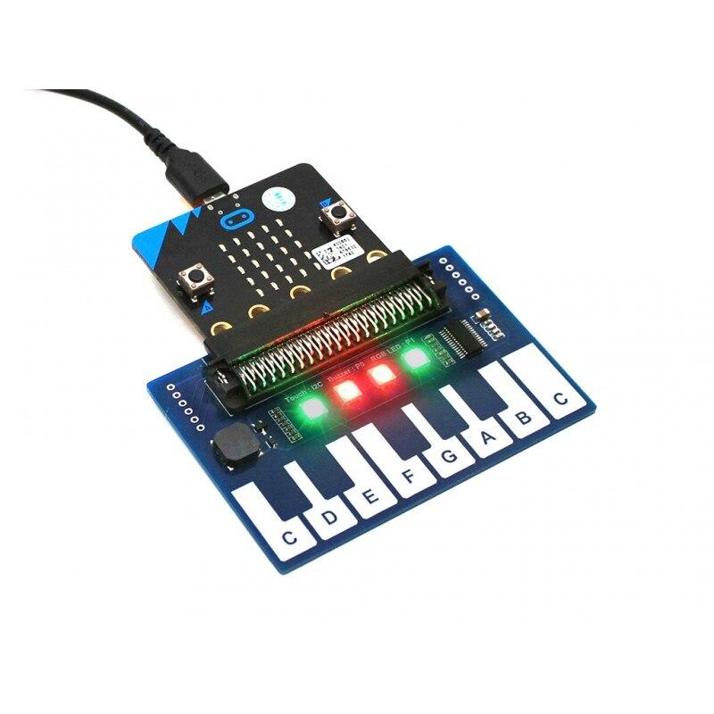 Mini Pianoforte Modulo per micro: bit Tasti a Sfioramento per Riprodurre la Musica con 4 RGB LED I2C Spilli di Controllo di interfaccia SPI GPIO Spille Plug and Play