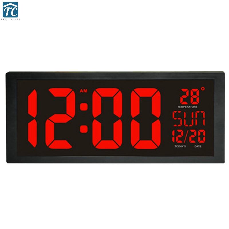 Horloge murale numérique Led temps 24 & 12 heures affichage décoration de la maison montres salon thermomètre à mémoire électronique grand écran