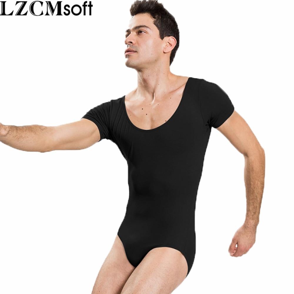 LZCMsoft Mens Short Sleeve Leotard One Piece Bodysuits For Male Dancers And Gymnasts Spandex Black Ballet Leotards Dancewear