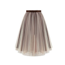 2019 Summer New European and American Womens Organza Fashion Wild Skirt Fluffy Mesh Tulle