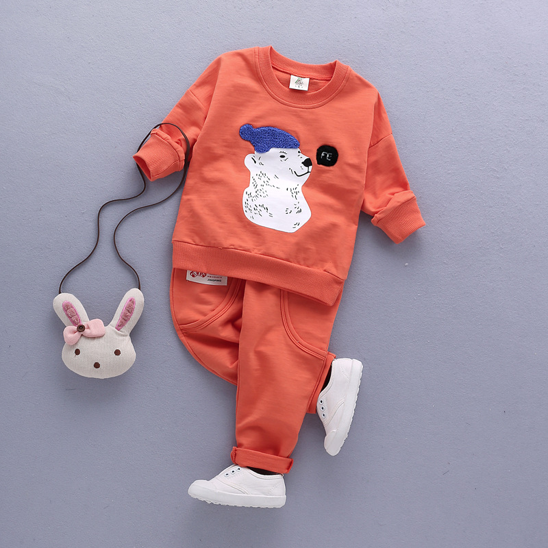 Spring New Boys and Girls in the Cotton Child Polar Bear 1-4 year Bamboo Cotton two Sets of Children's Clothing YD101