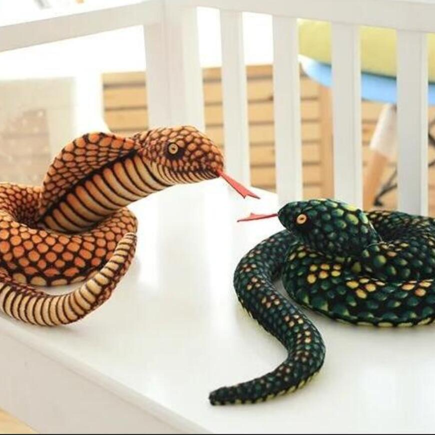 The snake plush toy big pillow doll Zodiaca Simulation snake Cobra Python pattern props Special gifts for children 100CM the cobra